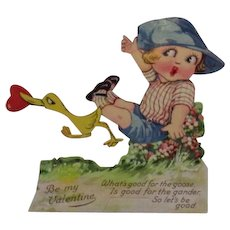 German Mechanical Valentine Boy with Duck