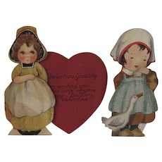 2 Vintage Mechanical Valentines of Little Dutch Girls Red Heart