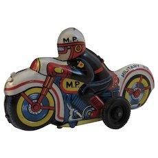 Nomura Tin Friction Military Police Motorcycle Japan Japanese