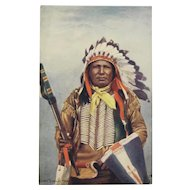 Indian Chief 'Eagle Track'  Postcard by Tuck, Native American