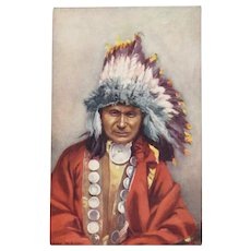 Indian Chief 'Red Owl'  Postcard by Tuck Native American