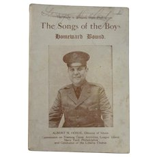 1919 The Songs of the Boys Homeward Bound WWI Book