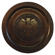 Vintage Polish Metal Inlay Pyrography Wood and Brass Imperial Eagle Plate