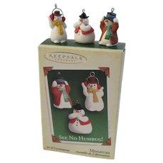 2005 Hallmark Miniature See No Humbug! 3 Snowmen Ornament Set