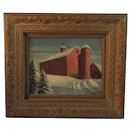 Red Barn in Winter Oil Painting