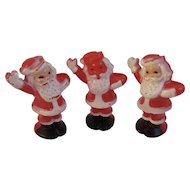 3 Santa Candy Containers Hard Plastic