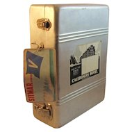 Vintage Metal Suitcase with Travel Stickers Cruise Ship Nautical