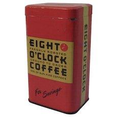Eight O'Clock Coffee Tin Bank Advertising Vintage Kitchen Kitchenware