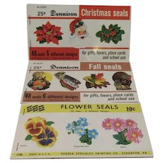 Dennison and Eureka Seals Christmas Thanksgiving Easter Autumn Fall Winter Spring Pumpkin Turkey Santa Holly Flowers
