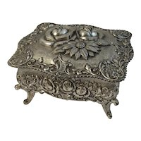 Roses Jewelry Casket Cast Metal Footed Box