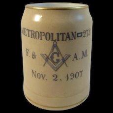1907 Masonic Lodge Stein - Metropolitan 273 New York - Red Tag Sale Item