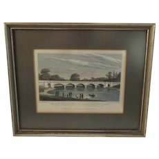 1827 Engraving The New Bridge Over the Serpentine Hyde Park Shepherd and Barenger