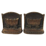 Conestoga Wagon Book Ends WH Howell Co Cast Iron Western Bookends