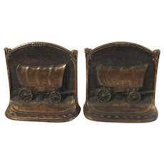 Conestoga Wagon Book Ends WH Howell Co Cast Iron Western Bookends - Red Tag Sale Item