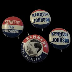 Kennedy for President & Johnson Political Pinbacks Patriotic Red White and Blue - Red Tag Sale Item