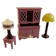 Fisher Price Hutch and 2 Lamps - Working Condition! Light Up Dollhouse Furniture