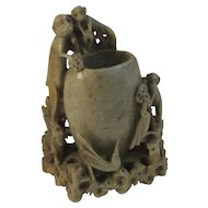 Vintage Carved Soapstone Monkey and Bird Vase
