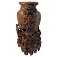 Vintage Carved Soapstone Vase Birds and Flowers