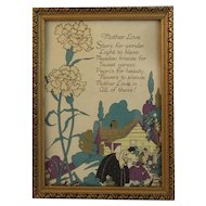 Art Deco Mother Love Motto Print Mothers Day Daughter and Cottage