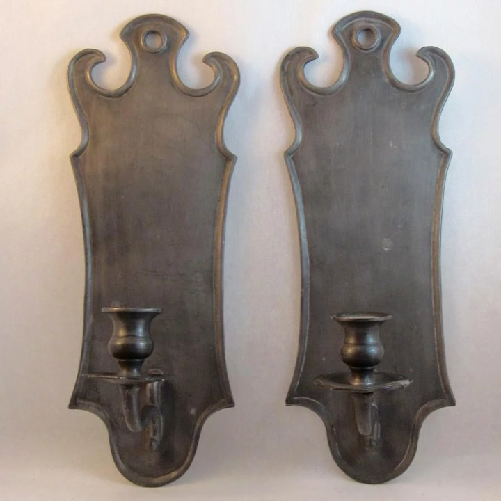 Italian Pewter Wall Sconces Candle Holders & Italian Pewter Wall Sconces Candle Holders : SS Moore Antiques ...