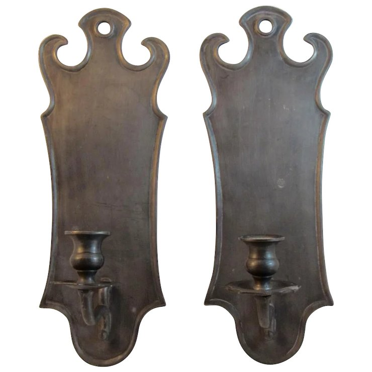 Italian Pewter Wall Sconces Candle Holders Ss Moore Antiques