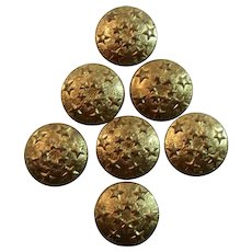 6 Gold Tone Star Buttons Patriotic for Sewing