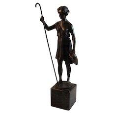 Bronze Statue Signed Hubert Shepherd Girl