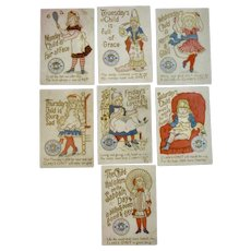 Set of 7 Clark's Nursery Rhyme Child Birthday Day of the Week Sewing Thread Advertising