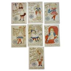 Set of 7 Clark's Nursery Rhyme Child Birthday Day of the Week Sewing Thread Advertising