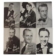 Set of 6 Mutoscope Postcards of Big Band Leaders
