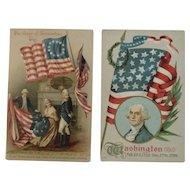 2 George Washington Patriotic Postcards