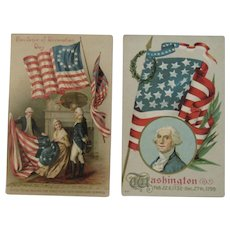 2 George Washington Patriotic Postcards