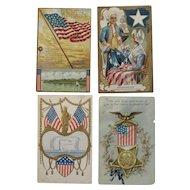 4 Patriotic Postcards GAR Washington Statue of Liberty