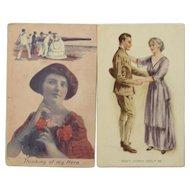 2 Patriotic War Time Postcards