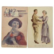 2 Patriotic War Time Postcards