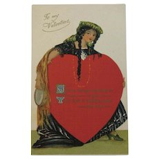 Romantic Valentine Postcard with Large Red Heart