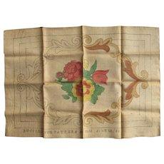 Vintage Bucilla Burlap Floral Hooked Rug Pattern