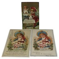 3 Girl with Doll Advertising Trade Cards