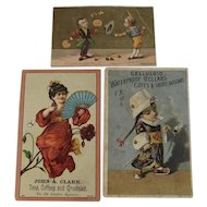 3 Chinese Boy Smoking Opium and Geisha Girl Advertising Trade Cards