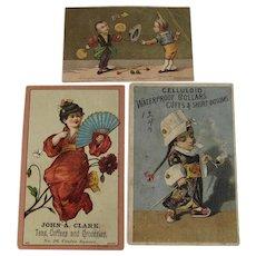 3 Chinese Boy Smoking Opium and Geisha Girl Advertising Trade Cards