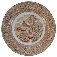 c1880s Brown Transferware Dinner Plate Italy Pattern by Edge Malkin