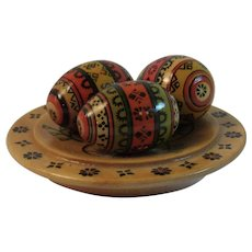 Vintage Russian Painted Wood Easter Eggs on Dish USSR
