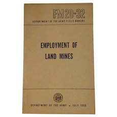 1955 Army Field Manual Employment of Land Mines FM 20-32