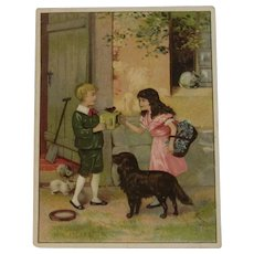 Schotten's ABC Coffee Advertising Trade Card Victorian Children with Cats Dog and Bird