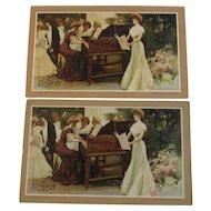 1907 Everett Piano Advertising Trade Cards - Pair