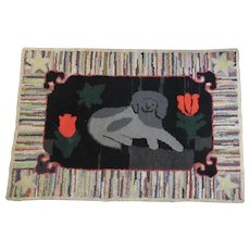 Hand Hooked Dog Rug Antique Folk Art from Pennsylvania Country Primitive Farmhouse Farm Decor