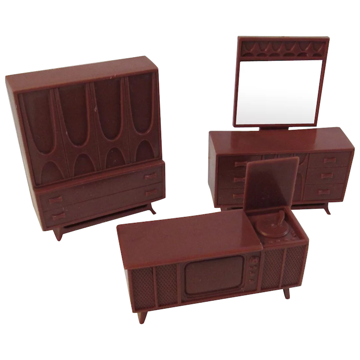 Mid Century Modern Dollhouse Furniture 3 Pieces