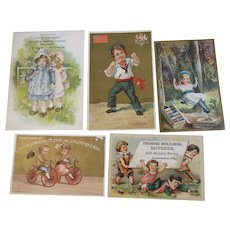 5 Victorian Children Advertising Trade Cards