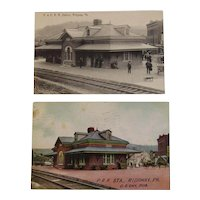 Philadelphia & Erie Railroad and Pennsylvania Railroad Ridgeway Station Postcards