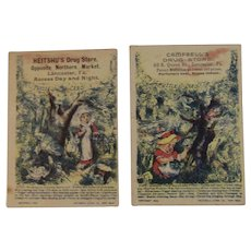 2 c1890 Puzzle Trade Cards from Drug Stores